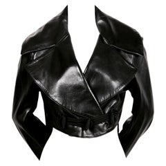 1991 AZZEDINE ALAIA black leather jacket with shawl collar & frog closure