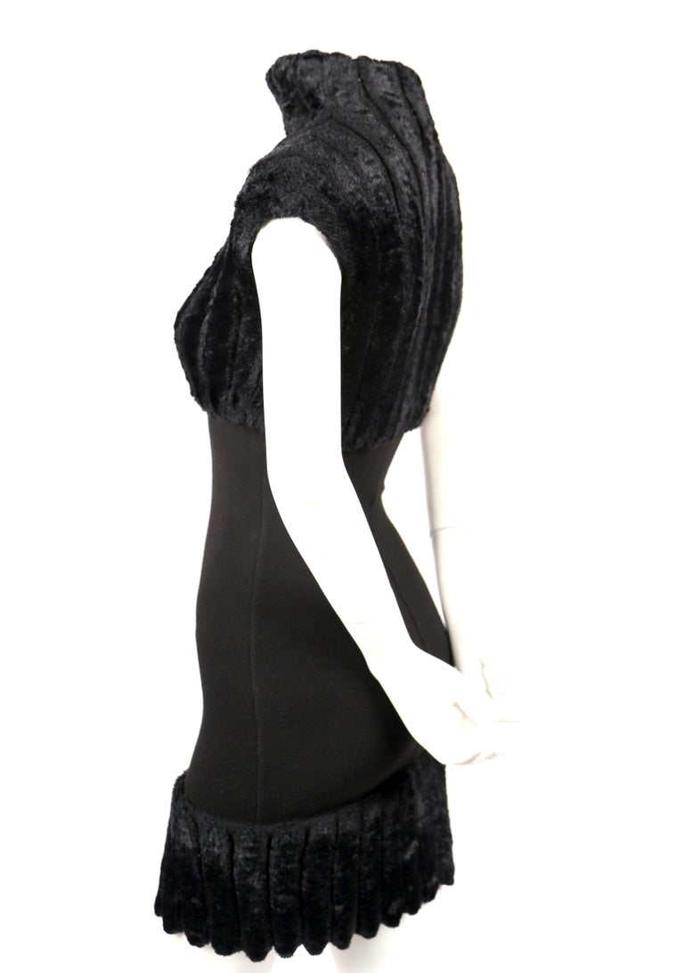 Women's or Men's 1991 AZZEDINE ALAIA black ribbed chenille dress For Sale