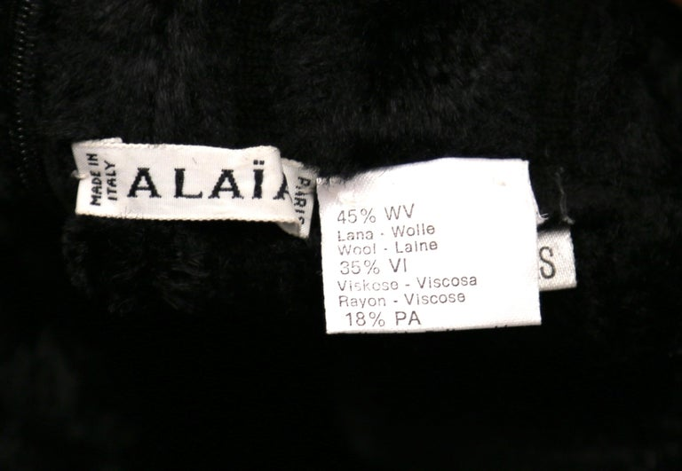 1991 AZZEDINE ALAIA black ribbed chenille dress For Sale 2