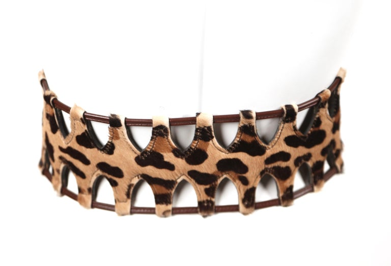 1991 AZZEDINE ALAIA pony skin leopard belt In Good Condition For Sale In San Fransisco, CA