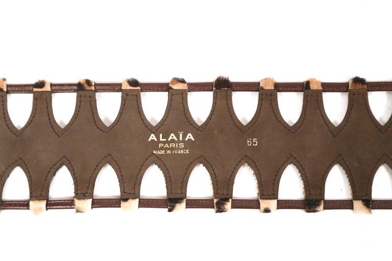 Women's or Men's 1991 AZZEDINE ALAIA pony skin leopard belt For Sale