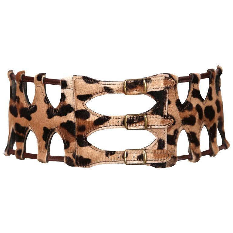 1991 AZZEDINE ALAIA pony skin leopard belt For Sale
