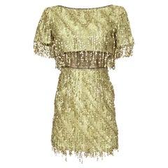 1991 Bob Mackie Gold Sequin Dangle Thread on Metallic Lace Mini Dress