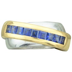 1991 Cartier Sapphire Band Ring in 18 Karat Yellow and White Gold