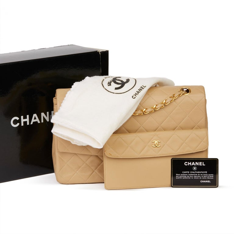 1991 Chanel Beige Quilted Lambskin Vintage Classic Single Flap Bag with Wallet  8