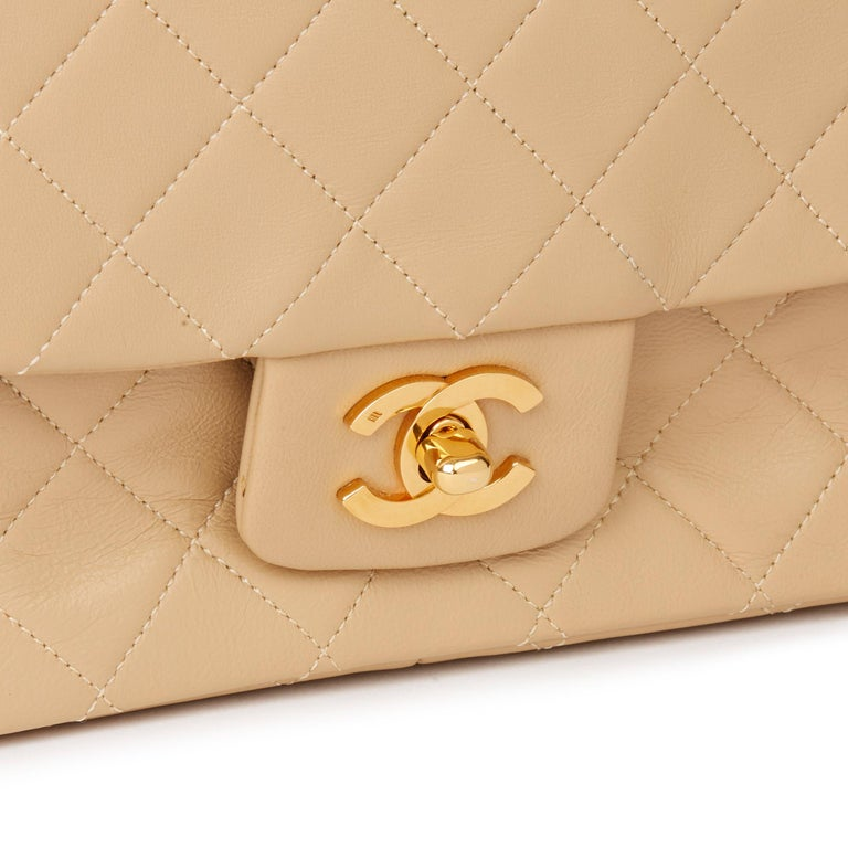 1991 Chanel Beige Quilted Lambskin Vintage Classic Single Flap Bag with Wallet  3