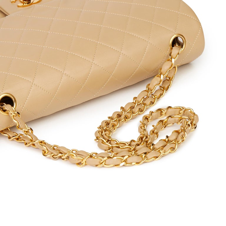 1991 Chanel Beige Quilted Lambskin Vintage Classic Single Flap Bag with Wallet  4