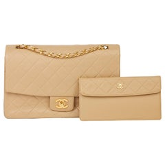 1991 Chanel Beige Quilted Lambskin Vintage Classic Single Flap Bag with Wallet