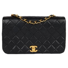 1991 Chanel Black Quilted Lambskin Leather Vintage Classic Single Full Flap Bag