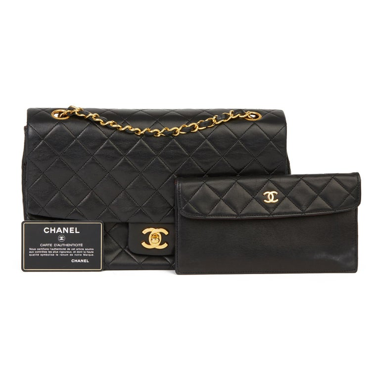 1991 Chanel Black Quilted Lambskin Vintage Classic Single Flap Bag with Wallet  8