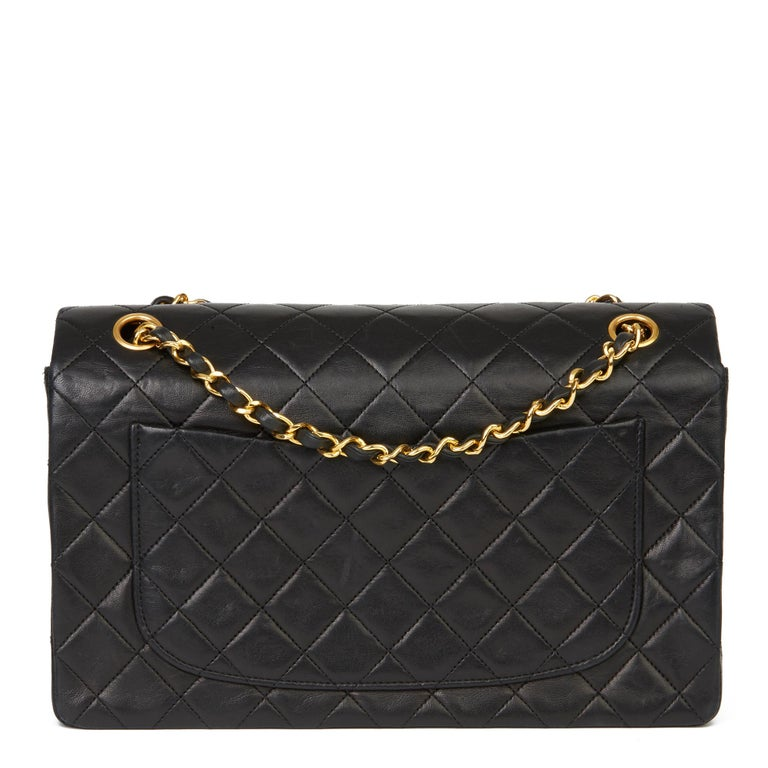 1991 Chanel Black Quilted Lambskin Vintage Classic Single Flap Bag with Wallet  1