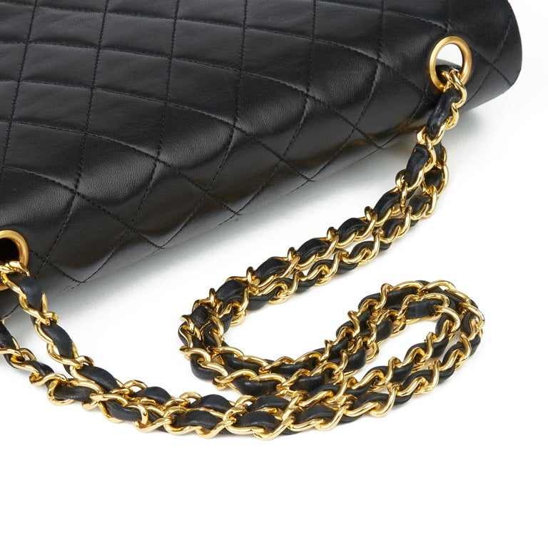 1991 Chanel Black Quilted Lambskin Vintage Classic Single Flap Bag with Wallet  4