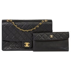 1991 Chanel Black Quilted Lambskin Vintage Classic Single Flap Bag with Wallet