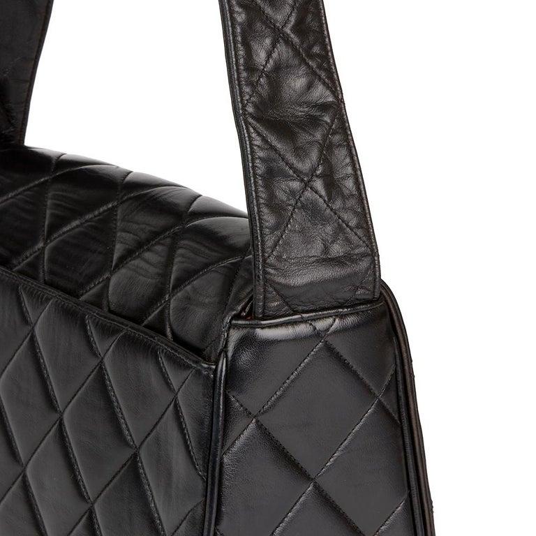 d4bd4d4d3d75 1991 Chanel Black Quilted Lambskin Vintage Leather Logo Shoulder Flap Bag  For Sale 3