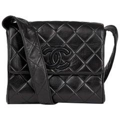 1991 Chanel Black Quilted Lambskin Vintage Leather Logo Shoulder Flap Bag
