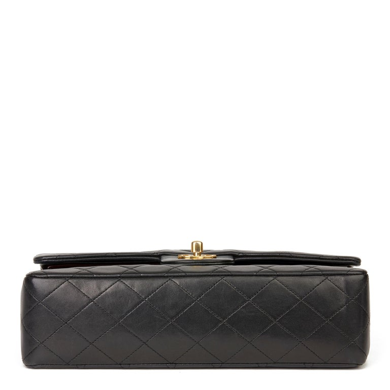 1991 Chanel Black Quilted Lambskin Vintage Medium Classic Double Flap Bag For Sale 2