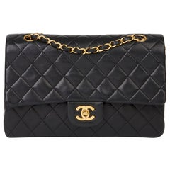 1991 Chanel Black Quilted Lambskin Vintage Medium Classic Double Flap Bag