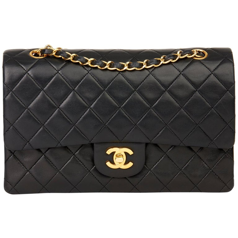 1991 Chanel Black Quilted Lambskin Vintage Medium Classic Double Flap Bag For Sale