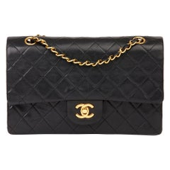 1991 Chanel Black Quilted Lambskin Vintage Medium Classic Double Flap