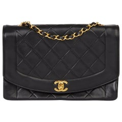 1991 Chanel Black Quilted Lambskin Vintage Medium Diana Classic Single Flap Bag
