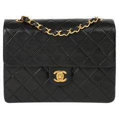 1991 Chanel Black Quilted Lambskin Vintage Mini Flap Bag