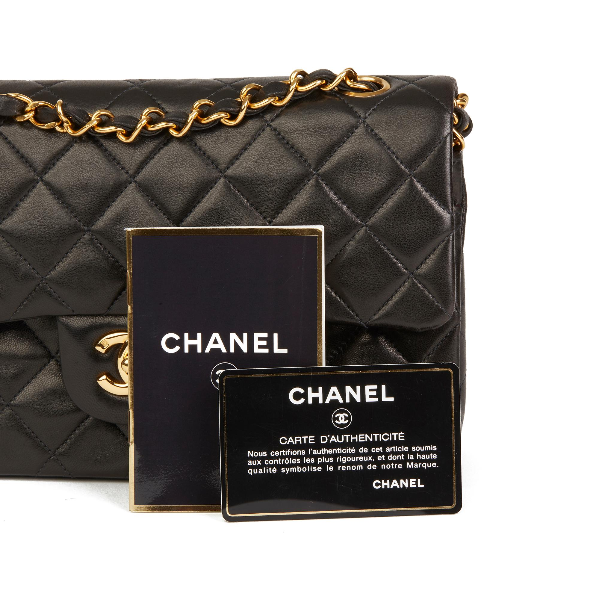 e8f56efe 1991 Chanel Black Quilted Lambskin Vintage Small Classic Double Flap Bag
