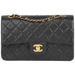 0189a0d0b71f 1991 Chanel Black Quilted Lambskin Vintage Small Classic Double Flap Bag