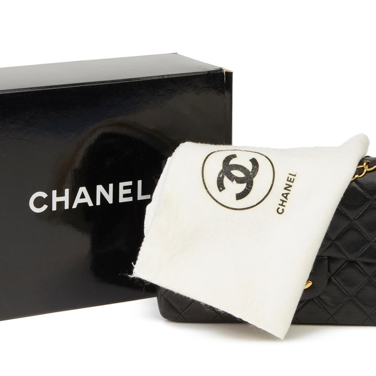 1991 Chanel Black Quilted Lambskin Vintage Small Classic Double Flap  8