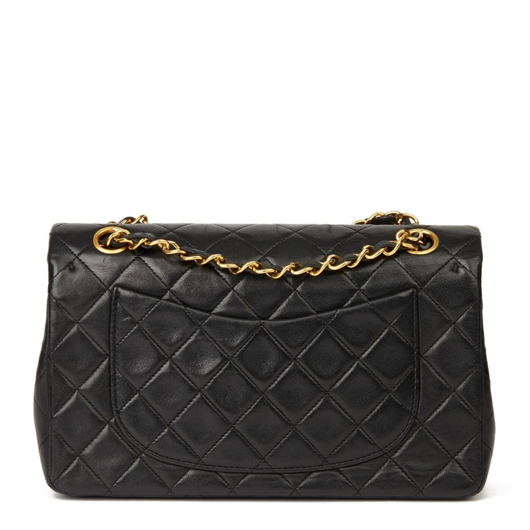 1991 Chanel Black Quilted Lambskin Vintage Small Classic Double Flap  1