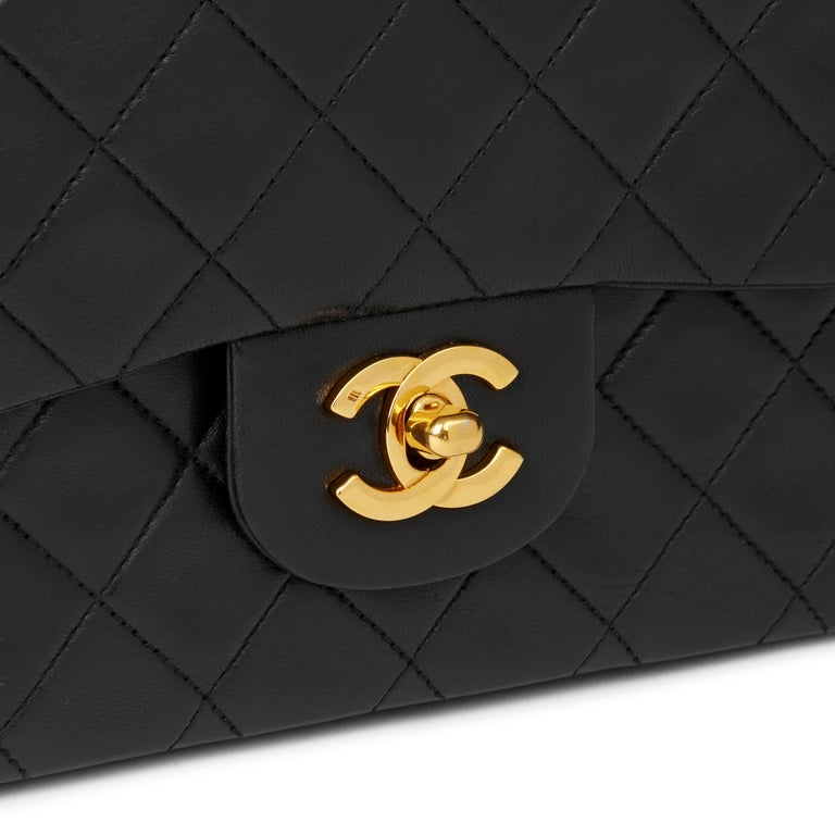 1991 Chanel Black Quilted Lambskin Vintage Small Classic Double Flap  3