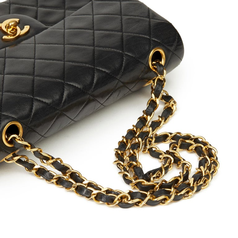 1991 Chanel Black Quilted Lambskin Vintage Small Classic Double Flap  4