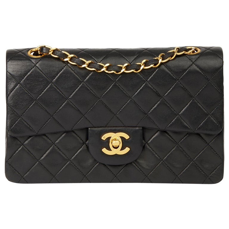 1991 Chanel Black Quilted Lambskin Vintage Small Classic Double Flap