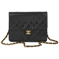 1991 Chanel Black Quilted Lambskin Vintage Small Classic Single Flap Bag