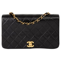 1991 Chanel Black Quilted Lambskin Vintage Small Classic Single Full Flap Bag