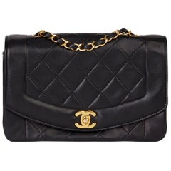 1991 Chanel Black Quilted Lambskin Vintage Small Diana Classic Single Flap Bag