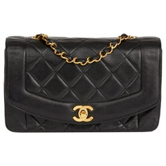 1991 Chanel Black Quilted Lambskin VIntage Small Diana Classic Single Flap
