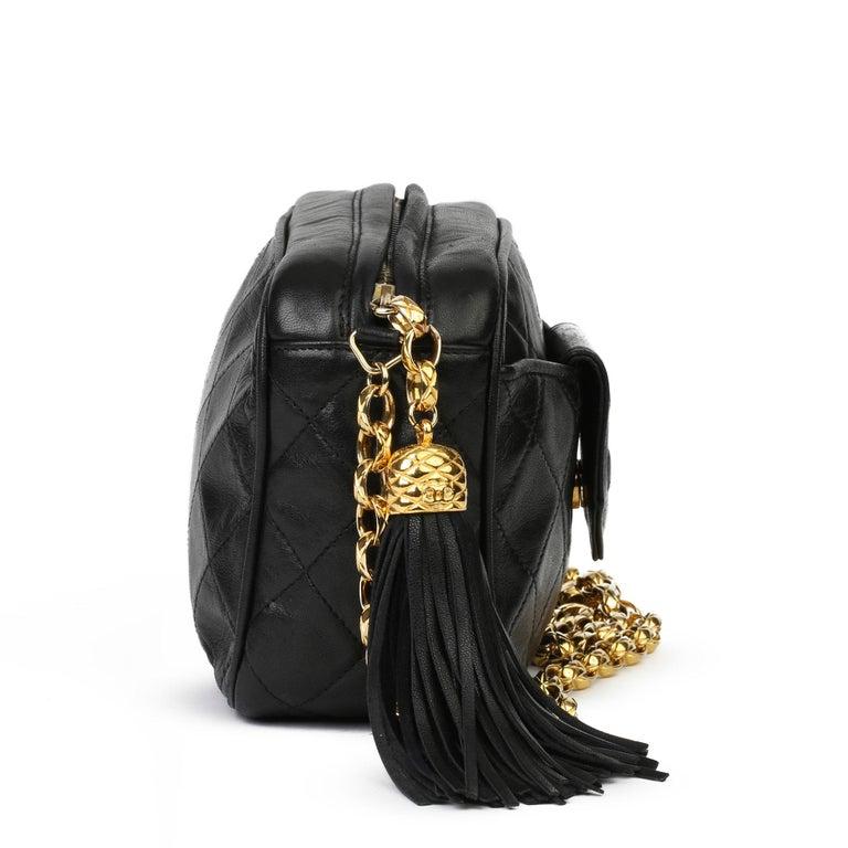 1991 Chanel Black Quilted Lambskin Vintage Timeless Fringe Camera Bag In Excellent Condition For Sale In Bishop's Stortford, Hertfordshire