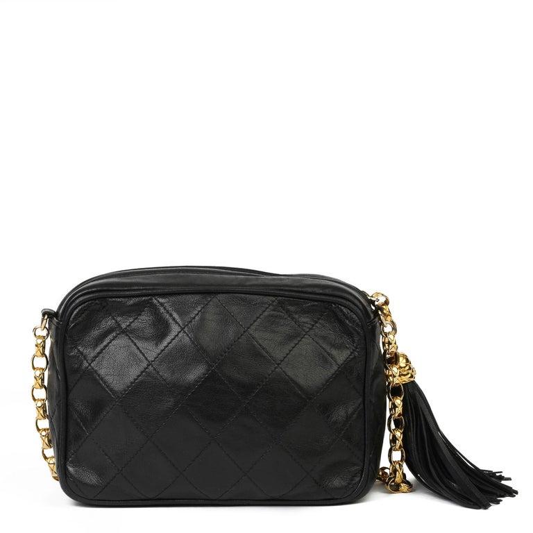 Women's 1991 Chanel Black Quilted Lambskin Vintage Timeless Fringe Camera Bag For Sale