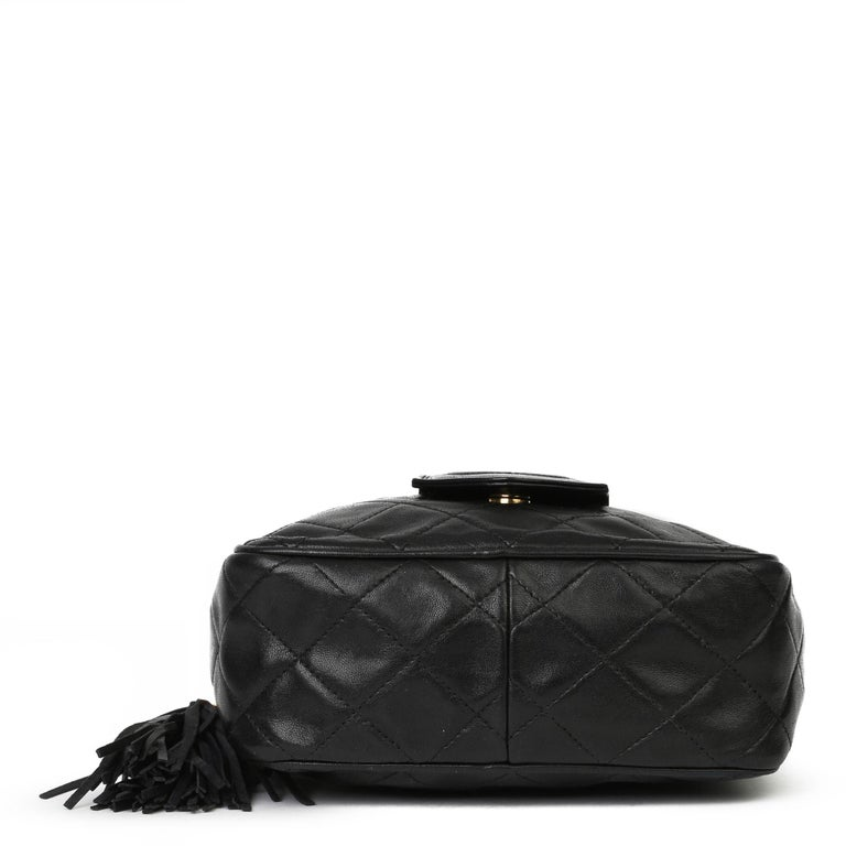 1991 Chanel Black Quilted Lambskin Vintage Timeless Fringe Camera Bag For Sale 1