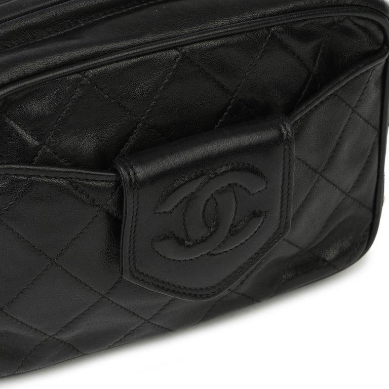 1991 Chanel Black Quilted Lambskin Vintage Timeless Fringe Camera Bag For Sale 2