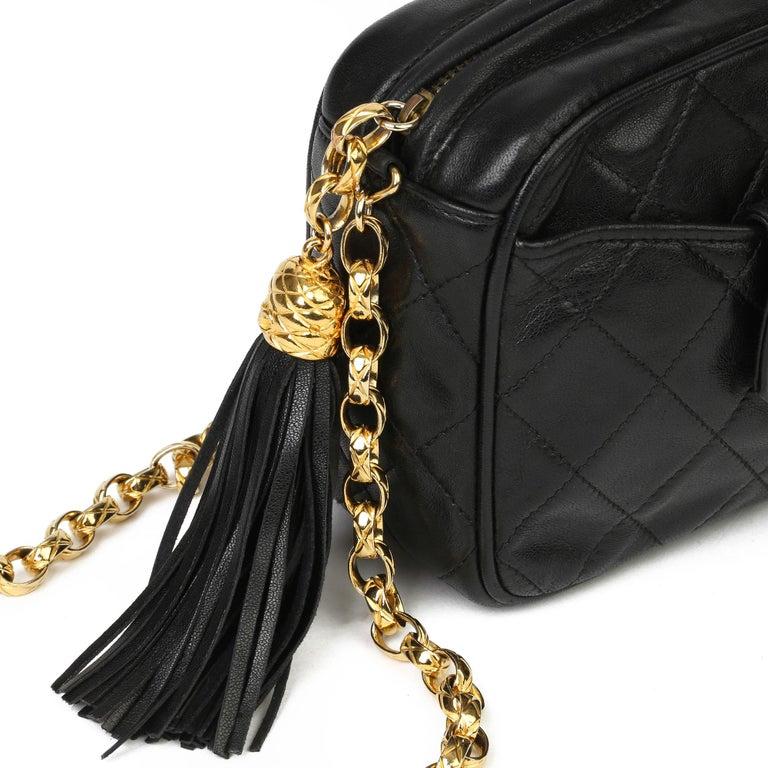 1991 Chanel Black Quilted Lambskin Vintage Timeless Fringe Camera Bag For Sale 3