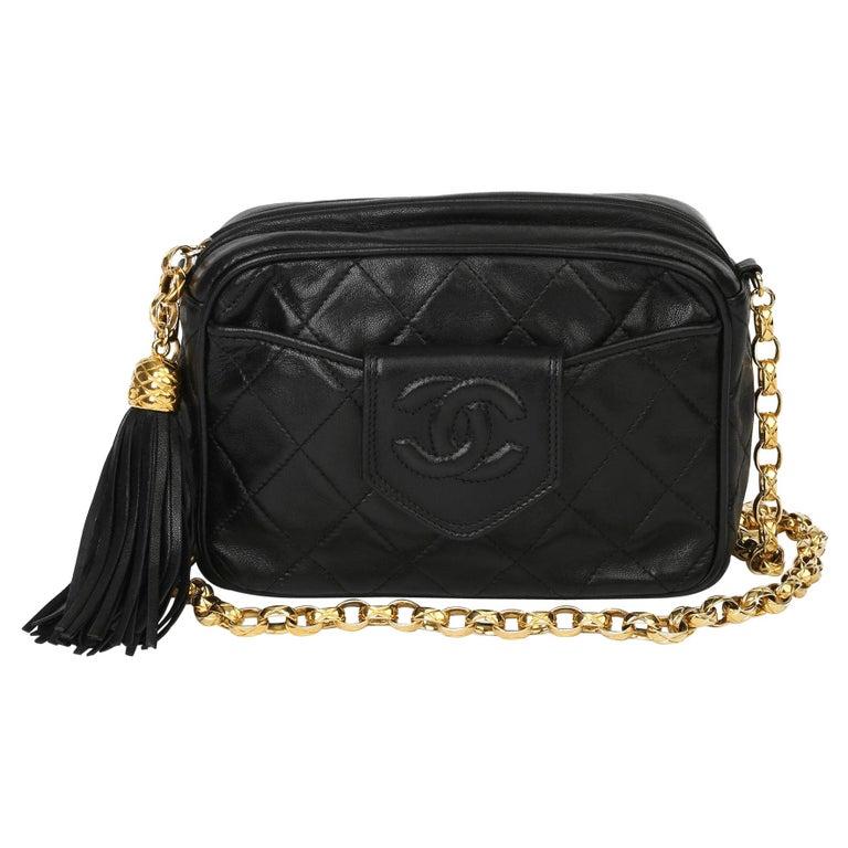 1991 Chanel Black Quilted Lambskin Vintage Timeless Fringe Camera Bag For Sale