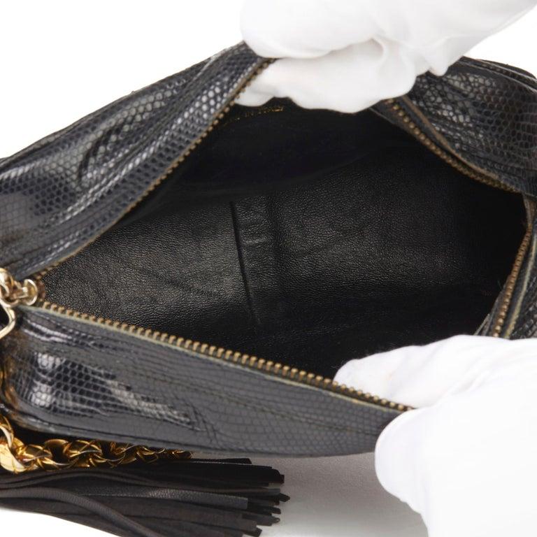 1991 Chanel Black Quilted Lizard Leather Vintage Camera Bag For Sale 7