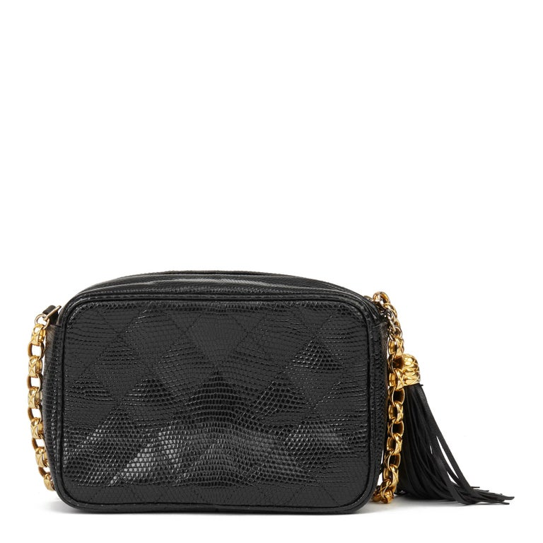 1991 Chanel Black Quilted Lizard Leather Vintage Camera Bag For Sale 1