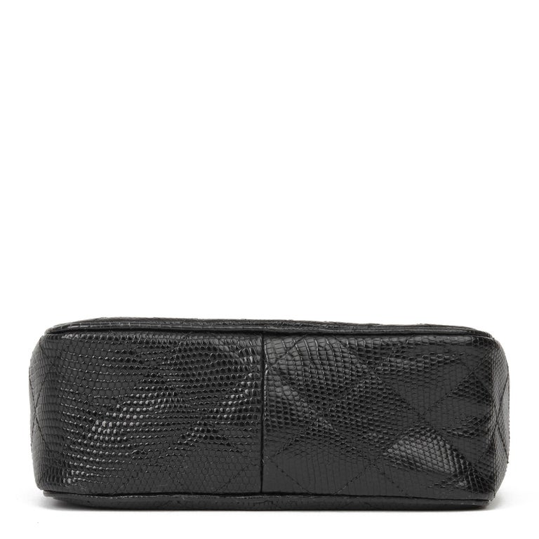 1991 Chanel Black Quilted Lizard Leather Vintage Camera Bag For Sale 2