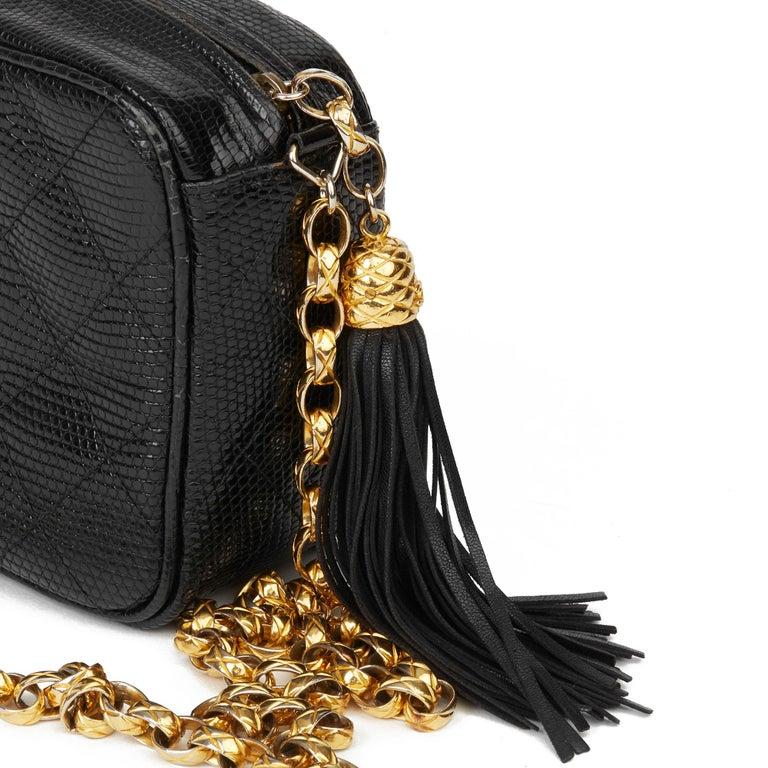 1991 Chanel Black Quilted Lizard Leather Vintage Camera Bag For Sale 4