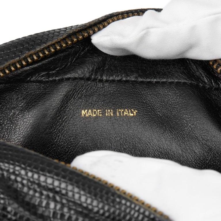 1991 Chanel Black Quilted Lizard Leather Vintage Camera Bag For Sale 5