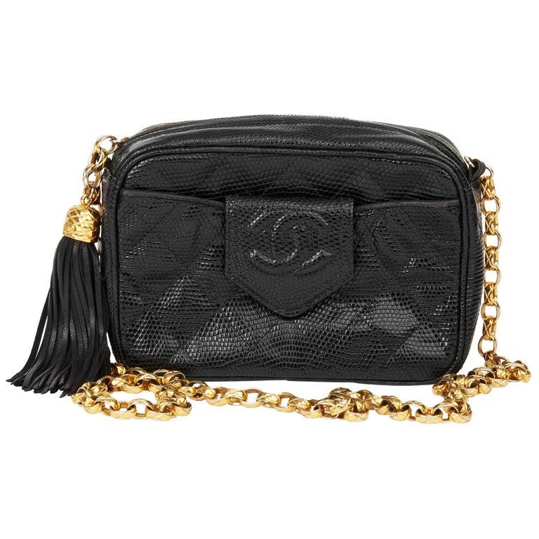 1991 Chanel Black Quilted Lizard Leather Vintage Camera Bag For Sale