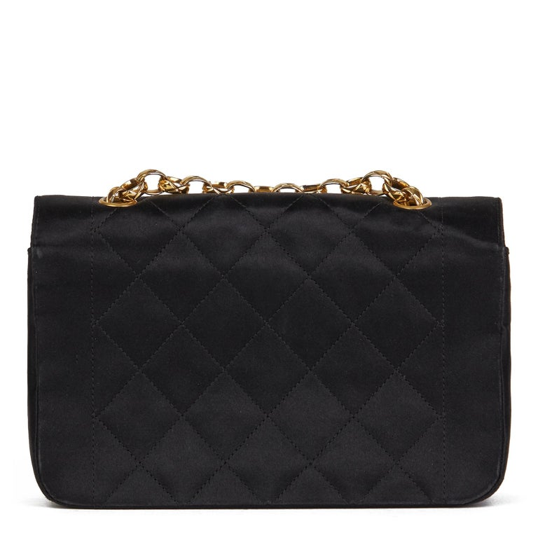 1991 Chanel Black Quilted Satin Vintage Mini Diana Classic Single Flap Bag  For Sale 1