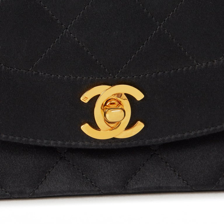 1991 Chanel Black Quilted Satin Vintage Mini Diana Classic Single Flap Bag  For Sale 3